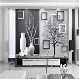 YShasaG Peinture Murale en Soie Grande Murale Personnalisé Taille Contexte Photographie Gris Noir Vase Arbre Art Salle De Bains Mur Papier Peint pour Salon Décor Peinture,336cmx238cm