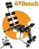 6x Bench! Panca addominali total body con sedile girevole, estensori braccia, sedile inclanibile ed allenamento gambe