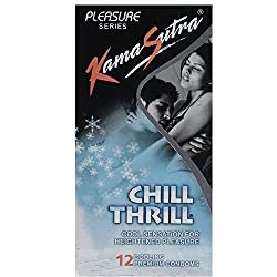 KamaSutra Chill Thrll Cool Sensation for Heightened pleasure Condoms 12s Packs (Pack of 2)