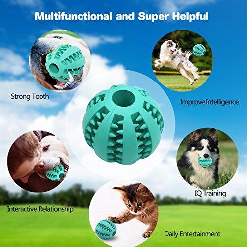 Idepet Hund Spielzeug Ball, ungiftig Bite resistent Spielzeug Ball für Hunde Welpen, Hundefutter Treat Feeder Zahn Reinigung Ball, Hunde Übung Spiel Ball IQ Training Ball - 4