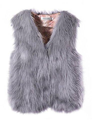 BAIHUODRESS Donna Gilet di Pelliccia Invernale Cappotto Senza Maniche  Giacchetto Giubbotto Faux Fur Corto Giacca Parka 35e0365bf46f