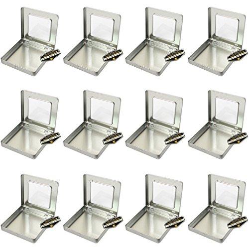 adratisch leer Scharnierdeckel Survival Tin Container mit siehe durch Fenster Top für Geocaching oder Survival Gear (12Stück)-10,2x 10,2x 1,4cm ()