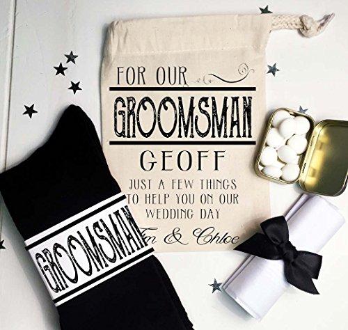 (Pre gefüllt Groomsman, Usher Geschenktasche Wedding Morning Vintage Design mit Name personalisiert Socken Münzen und Einstecktuch)