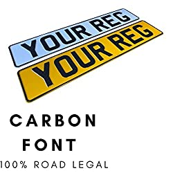 Carbon Front & Rear Pressed Number Plates Metal Car Registration Plate Embossed Reg 3d Road Legal
