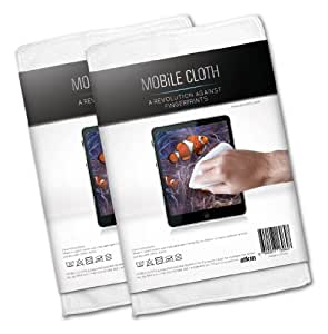 Cleaning cloth MOBiLE CLOTH Nano, 2 pieces multipack (white), approx. 10x10 cm, micromaterial cloth for smartphones, tablets, (sun)glasses, lenses, e-book readers and computer monitors