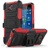 MoKo Lumia 650 Funda - Holster Funda con Soporte y Girable Clip [Heavy Duty] Robusto Funda para Microsoft Lumia 650 5.0 Pulgadas 2016 Smartphone, Rojo