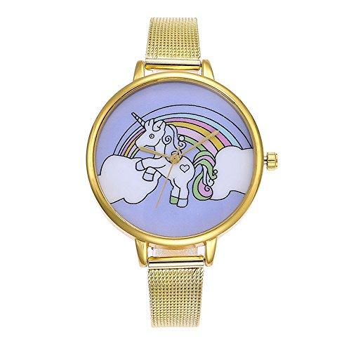 Souarts Damen Armbanduhr Einfach Mesh Metallarmband Flamingo Ananas Einhorn Regenbogen Casual Analoge Quarz Uhr Silber Farbe Einhorn Mädchen Uhr (Gold 2)