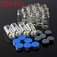 Tourwin viales de vidrio, botella de aceite, 100unidades, 10ml botella de vidrio transparente con tapón flip off tapas de sellado de aluminio azul