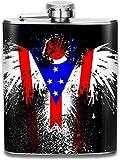 Eybfrre Flag of Ohio Eagle Stainless Steel Flask Wearproof 7OZ Hip Flask Flat Liquor Flask Whiskey Wine Flagon Mug