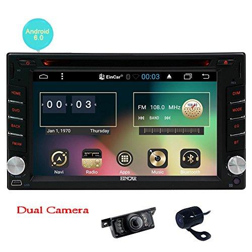 Frontkamera + Backup-Kamera + Upgrade-Android 6.0 Auto DVD-Player Doppel-DIN-Auto-Stereosystem 6.2 Zoll im Schlag GPS-Navigations-Autoradio Bluetooth WiFi OBD2 + Free externe Mic (Digital-stift-scanner)