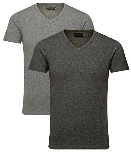 JACK & JONES Herren V-Neck T-Shirt Basic 2er Pack Hellgrau/Dunkelgrau