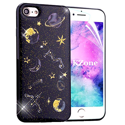 OKZone iPhone 8 Plus Case,iPhone 7 Plus Case, [Starry Night Series] Luxury Bling Glitter Sparkle Star Design Soft TPU Silicone Skin Cover Case for Apple iPhone 8 Plus/iPhone 7 Plus 5.5 Inch (Black)
