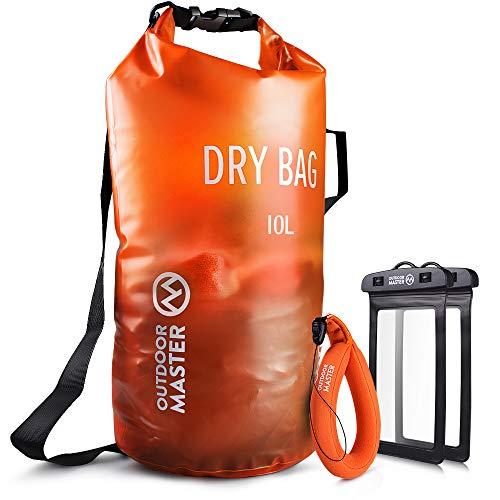 OutdoorMaster Dry Bag- 10L wasserdichter leichter Trockensack Packsack für Schwimmen, Bootfahren, Angeln, Camping, Snowboarden - mit 2 freie wasserdichte Handytasche & Float Handschlaufe (Orange, 10L)