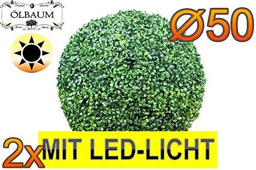 2X Buchsbaum mit LED-Lichtband große Buchsbaumkugel Durchmesser 50 cm 500 mm grün dunkelgrün