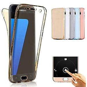 Vectady für Samsung Galaxy A8 2018 Hülle, Case Handyhülle Silikon Hüllen TPU Gel Transparent Durchsichtig 360 Grad Komplettschutz Vorne und Hinten Dünn Cover für Samsung Galaxy A8 2018 – Gold