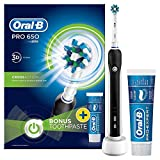 Oral-B Pro 650 Cross Action Electric Rechargeable Toothbrush Powered by Braun, 1 Black Handle, 1 Toothbrush Head, 1 Oral-B Pro-Expert Professional Protection Toothpaste 75 ml, 2 Pin UK Plug