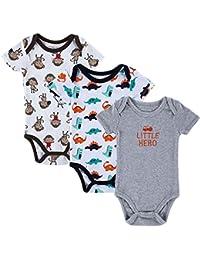 QHGstore algodón 3pcs / set la impresión linda de manga corta del bebé de una sola pieza del bebé del vestido ropa de la subida 0-3 meses