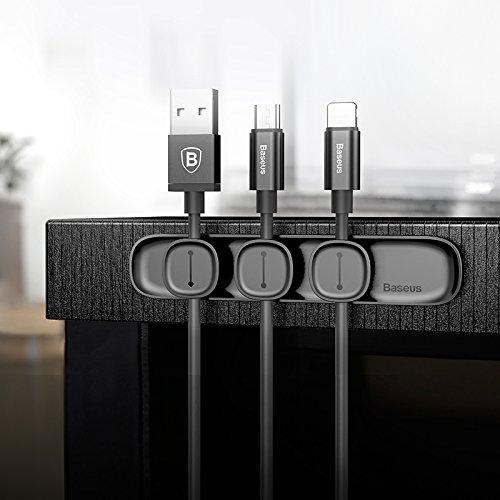 Mehrzweck-Kabel-Clips, magnetische Tisch-Kabel-Clips, Kabel-Management-System, Kabel-Organizer mit 3 Kabelschnallen & 1 Basis für Handy für Daten-Draht, Ladekabel, Kopfhörer-Draht (schwarz) -