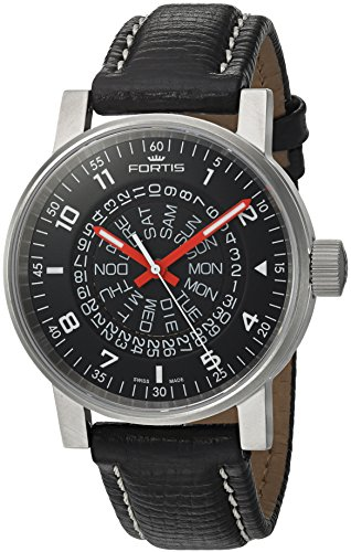 Fortis Men's 'Spacematic Classic Black-Red' Automatic Stainless Steel and Leather Casual Watch, Color:Black (Model: 623.10.51 L.01)