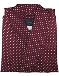 Men's Luxurious Dressing Gown - 100% Pure Silk - Stylish Wine Red with White Polka Dot Pattern
