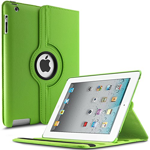 iPad 2 3 4 Hülle,Infiland PU Ledertasche lederhülle 360°Drehbarer Stand Smart Cover Case Schutzhülle Tasche Etui für Apple iPad 2,iPad 3, iPad 4(mit Auto Schlaf / Wach Funktion)(Grün)