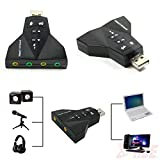 FARRAIGE 7.1 Channel USB Sound Adapter with 2 Stereo Output Jack & Microphone-Input Jack (Black)