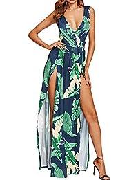 142d5c5b3 Mujeres Hot Summer Sundress Raja V Neck Backless Maxi Vestidos Florales