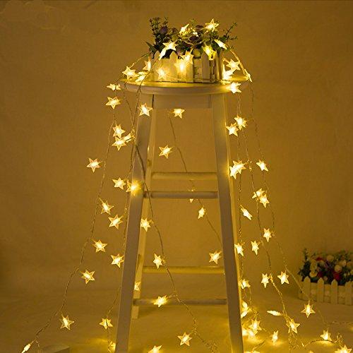 Pingxia 6M 40LEDs Star a mené les lumières de chaîne, le fil de cuivre étoilé blanc chaud ficelle allume des lumières décoratives de corde pour la fête de Noël le mariage Garden Festival