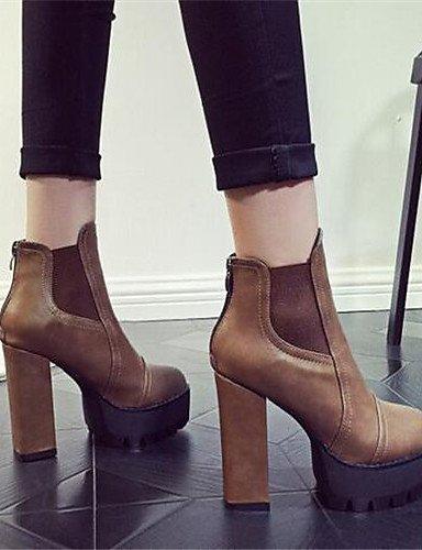 ShangYi Mode Frauen Schuhe Damen Stiefel Sommer / Herbst Runder PU and Ferse  Reißverschluss Schwarz / Braun Andere Braun
