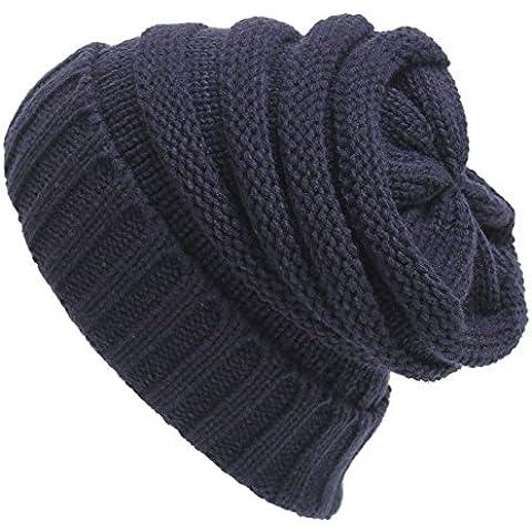 Las mujeres boina trenzado Beanie Hat holgados tejer Crochet Tapa de esquí invierno Cálida gorra cráneo azul marino