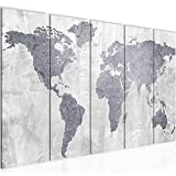 Bilder Weltkarte World Map Wandbild 200 x 80 cm Vlies - Leinwand Bild XXL Format Wandbilder Wohnzimmer Wohnung Deko Kunstdrucke Grau 5 Teilig - MADE IN GERMANY - Fertig zum Aufhängen 104355c