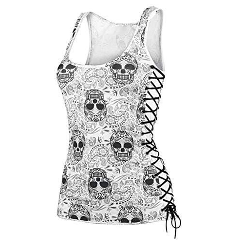 Damen Camisole T-Shirt Weste Bluse Top,Sommerfrauenweste T-Shirt Schwarzes Bodenshirt V-Ausschnitt T-Shirt Mit Totenkopf-Print Und Dekorativem Metallunterhemd Aus Metall Top - Metall-mädchen-shirt