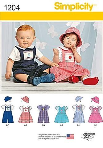Simplicity 1204Größe A Baby-Strampelanzug oder Jumper/Hüte und Knit Body Schnittmuster,