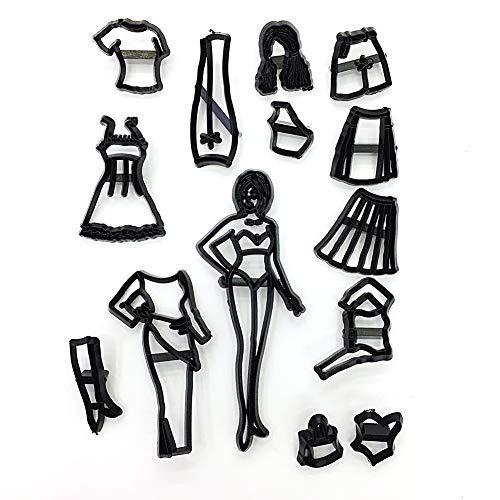 tianxiangjjeu 12 Stück Fashion Girl Kleidung Design Lebensmittelqualität Kunststoff Keks Form Kuchen Dekoration Werkzeug Schwarz (Kleidung Puzzle-stück)