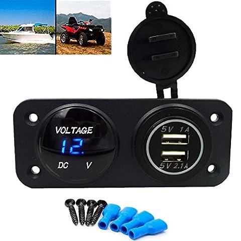 GEREE Waterproof Design Dual USB Port Charger Socket Outlet 2.1A/1.0A 12V LED Digital USB Voltmeter For Motorcycle Car Marine Boat