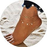 Simsly Fashion Strand-Fußkette mit Kunstperle, verstellbar, für Frauen und Mädchen