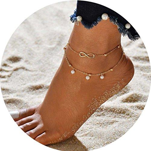 Simly – Tobillera de playa con perlas de imitación ajustable, para mujeres y niñas