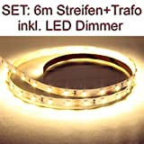 SET LED Strip Streifen WARMWEISS 6 Meter inkl. Netzteil und Dimmer
