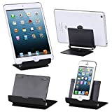 TRIXES Black Aluminium Folding Adjustable Stand for iPhones iPads Android Windows Tablets & Smartphones