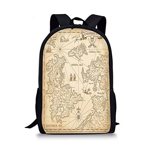 School Bags Map,Highly Detailed Ancient Grunge Treasure Map Adventure Sailing Island Journey Travel Decorative,Sand Brown for Boys&Girls Mens Sport Daypack