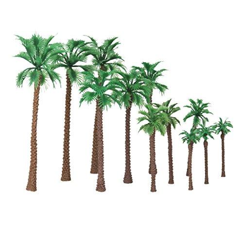 Yundxi 12 Stück Palm Baum Dekor Bäume 6-11cm für Modellbau Landschaftsbau Maßstab 1:65-1: 150