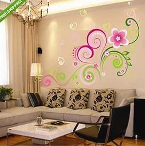 Heart Shaped Wall Sticker Paper Flower Vine Home Decor Decal Removable Art Kid Viny