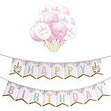 Auony Einhorn Drucken Happy Birthday Banner Flagge mit 12 Stück Ballons für Geburtstag Baby Shower Party Dekorationen