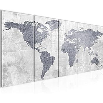 Bilder Weltkarte World Map Wandbild 200 X 80 Cm Vlies   Leinwand Bild XXL  Format Wandbilder Wohnzimmer Wohnung Deko Kunstdrucke Grau 5 Teilig  100%  MADE IN ...
