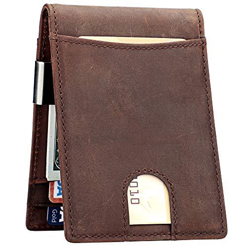 Lavemi Herren Geldklammer Brieftasche Dünne fronttasche rfid blockierungsKartenHalter minimalistisch bifold wallet Einheitsgröße Crazy pferd braun -