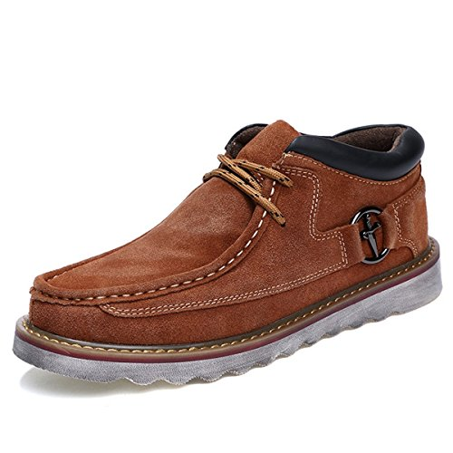 Herren Stiefel, Gracosy Desert Boot Schnürhalbschuhe Derby Schuhe Oxford Mokassins aus Veloursleder High-Top Lederschuhe Lace-Up Winter Herbst Braun 44 (Retro High-top)