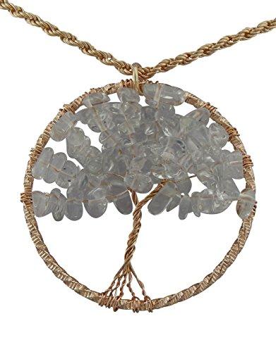 Hanessa Damen-Schmuck goldene Hals-Kette mit Baum-Anhänger vergoldet in Gold Kunst-Steine Geschenk für die Ehe-Frau/Freundin/Frauen