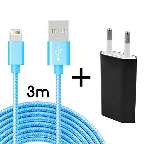 Coverlounge Ladegerät mit Lightning Kabel 3m / 3 Meter Nylon mit Netzteil/Netzstecker Lightning Ladekabel kompatibel mit Apple iPhone, iPad und iPods mit Lightning Anschluss (8 Pin) in Blau - Ladegerät Kabel Ipod Blau