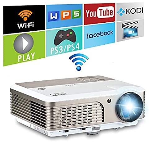 Portable LED Projector Wifi 2600 Lumen Smart Android Video Projector 1080P Home Cinema Theater HDMI / USB /Audio /VGA for Movie Entertainment Games, Airplay Miracast Wireless for iPad iPhone