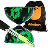 Harlequin Diabolos Set, Metal Diabolo Sticks, Diablo String & Bag (Green & Black) by Mr Babache Diabolo